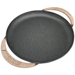 Black Metal and Rattan Tray Designed by Mathieu Matégot, France, 1950s