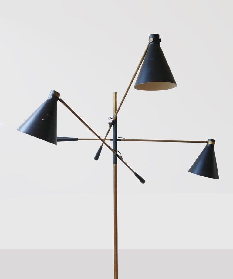 Italian Black Metal & Brass Three Arm Floor Lamp  For Sale