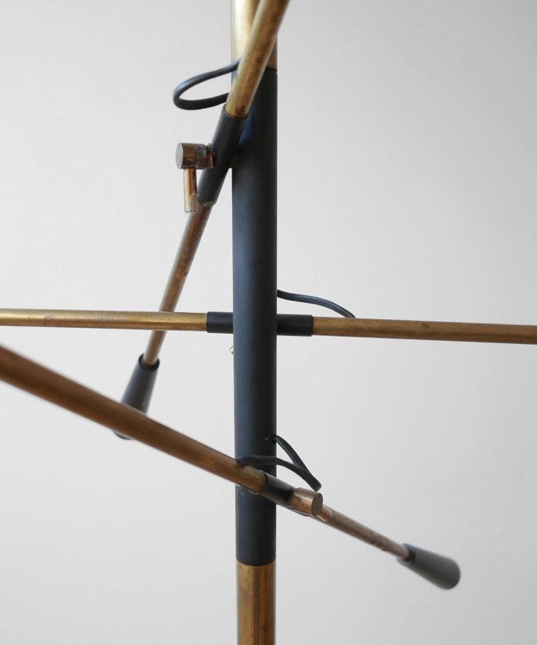 Painted Black Metal & Brass Three Arm Floor Lamp  For Sale