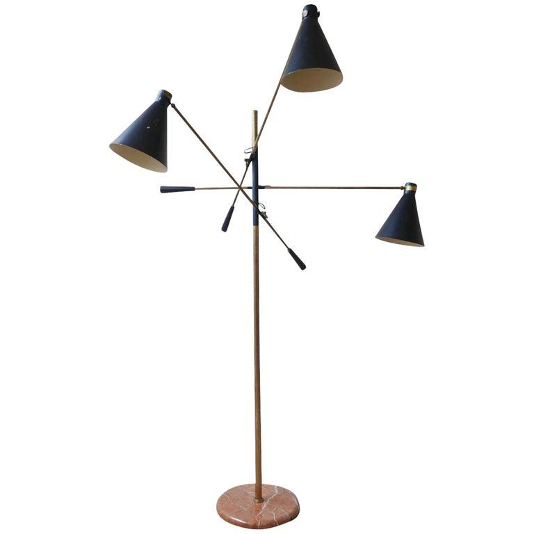 Black Metal & Brass Three Arm Floor Lamp  For Sale