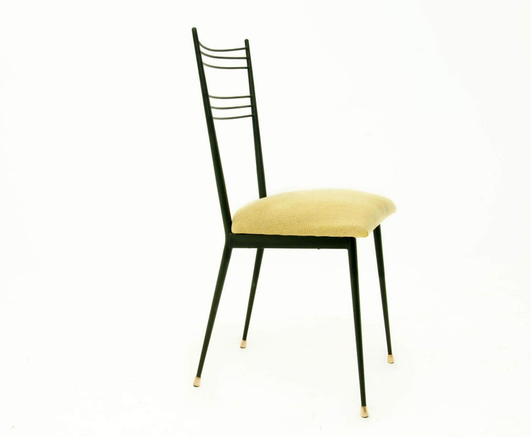 Mid-Century Modern Black Metal Chairs with Yellow Fabric Seats, by Colette Gueden, France, 1950 For Sale