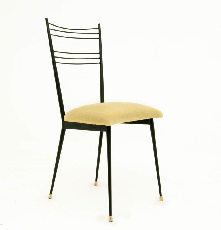 French Black Metal Chairs with Yellow Fabric Seats, by Colette Gueden, France, 1950 For Sale