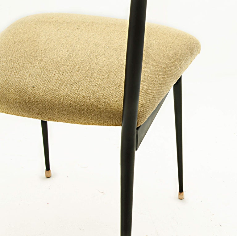 Black Metal Chairs with Yellow Fabric Seats, by Colette Gueden, France, 1950 For Sale 1