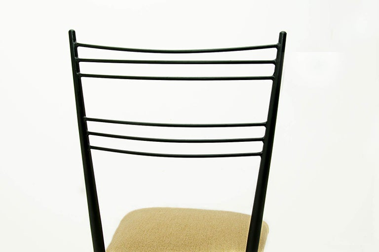 Black Metal Chairs with Yellow Fabric Seats, by Colette Gueden, France, 1950 For Sale 2