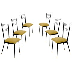 Black Metal Chairs with Yellow Fabric Seats, by Colette Gueden, France, 1950