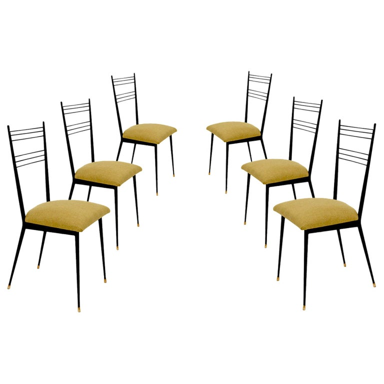 Black Metal Chairs with Yellow Fabric Seats, by Colette Gueden, France, 1950 For Sale