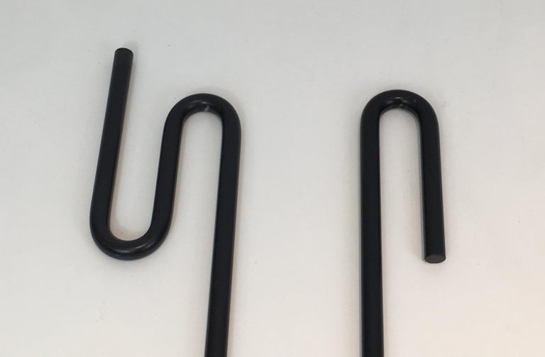 Black Metal Modernist Fire Place Tools on Stand, circa 1970 For Sale 4