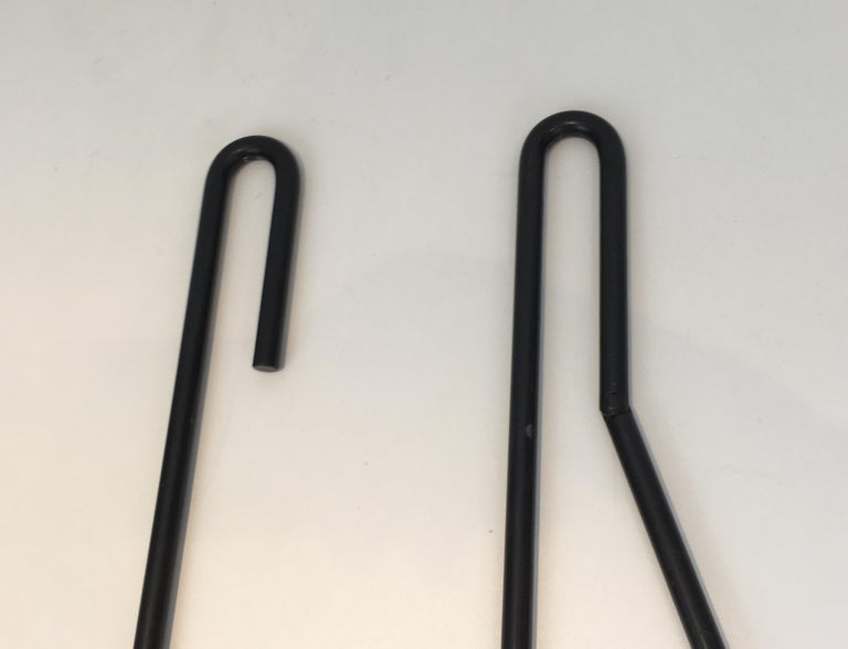 Black Metal Modernist Fire Place Tools on Stand, circa 1970 For Sale 5