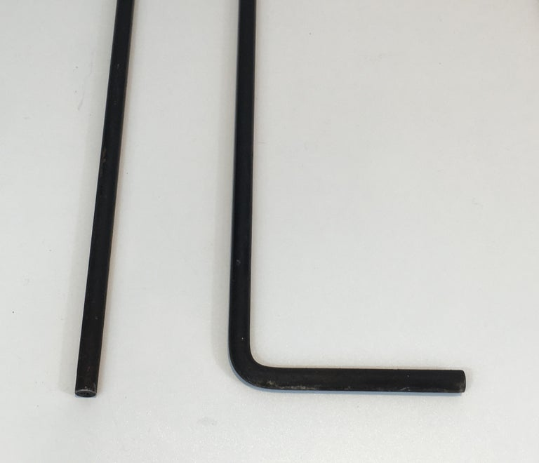 Black Metal Modernist Fire Place Tools on Stand, circa 1970 For Sale 6