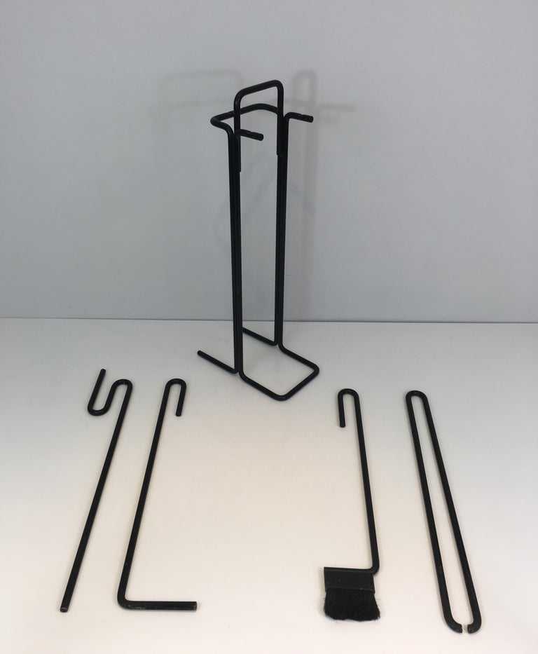 Lacquered Black Metal Modernist Fire Place Tools on Stand, circa 1970 For Sale