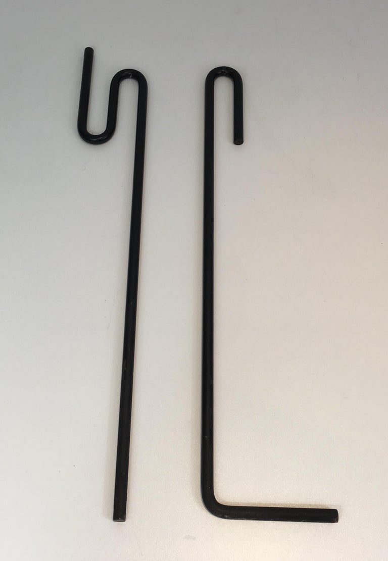 Black Metal Modernist Fire Place Tools on Stand, circa 1970 For Sale 1