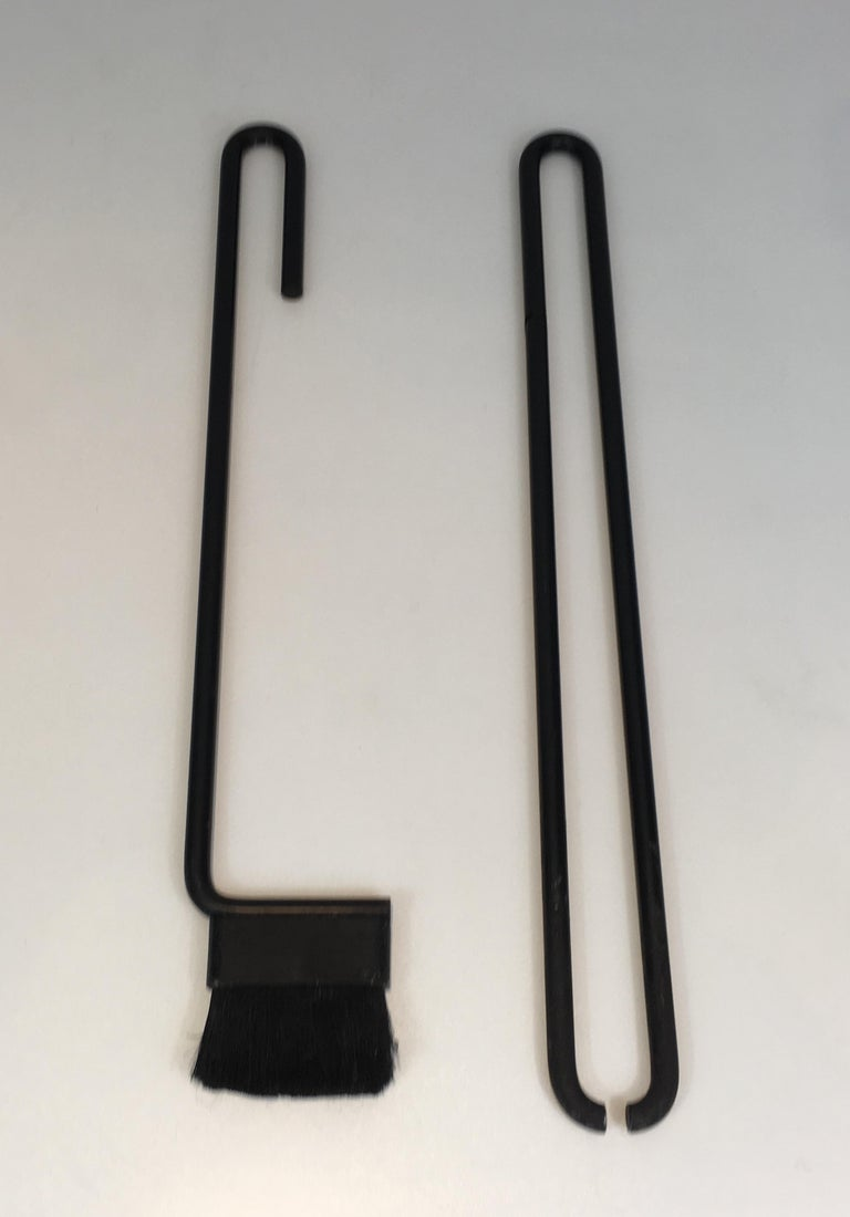 Black Metal Modernist Fire Place Tools on Stand, circa 1970 For Sale 2