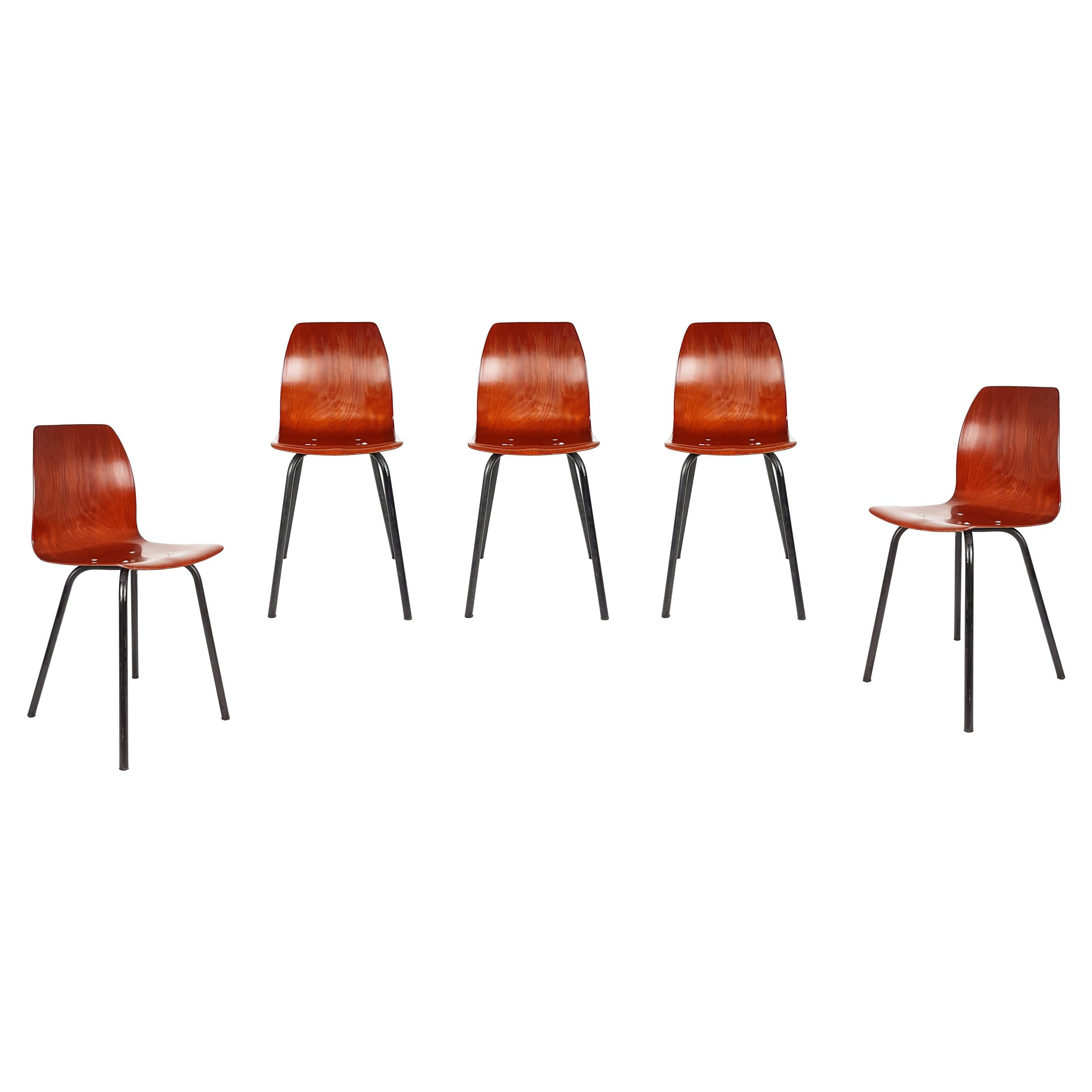 Black Metal & Pagwood 1960s Chairs with Pagholz Shells