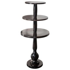 Black Metal Patina Effect Pedestal Shelves and High Table
