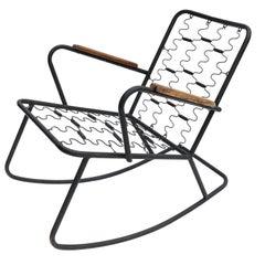 Black Metal Rocking Chair with Brazilian Jacaranda Wood Arms