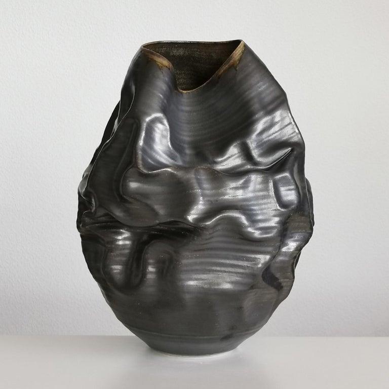 Black Metallic Dehydrated Form No 3, Ceramic Vessel by Nicholas Arroyave-Portela For Sale 5