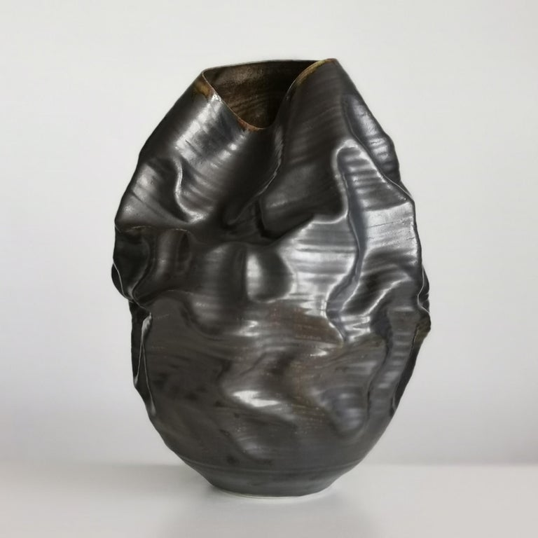 Organic Modern Black Metallic Dehydrated Form No 3, Ceramic Vessel by Nicholas Arroyave-Portela For Sale
