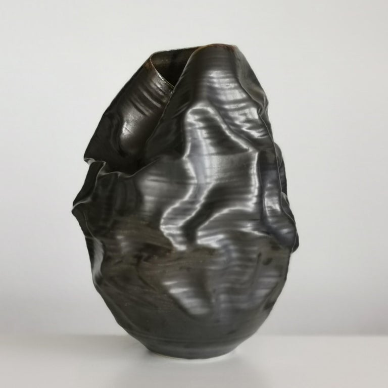 Spanish Black Metallic Dehydrated Form No 3, Ceramic Vessel by Nicholas Arroyave-Portela For Sale