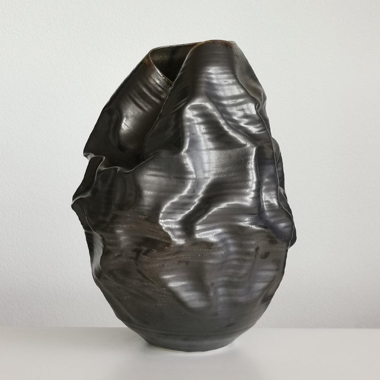 Hand-Crafted Black Metallic Dehydrated Form No 3, Ceramic Vessel by Nicholas Arroyave-Portela For Sale