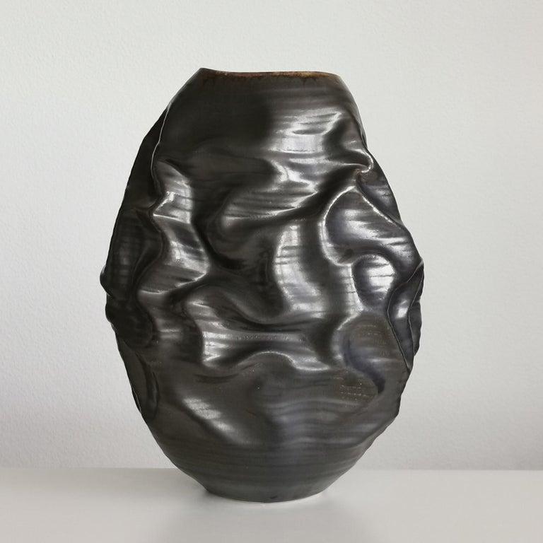 Contemporary Black Metallic Dehydrated Form No 3, Ceramic Vessel by Nicholas Arroyave-Portela For Sale