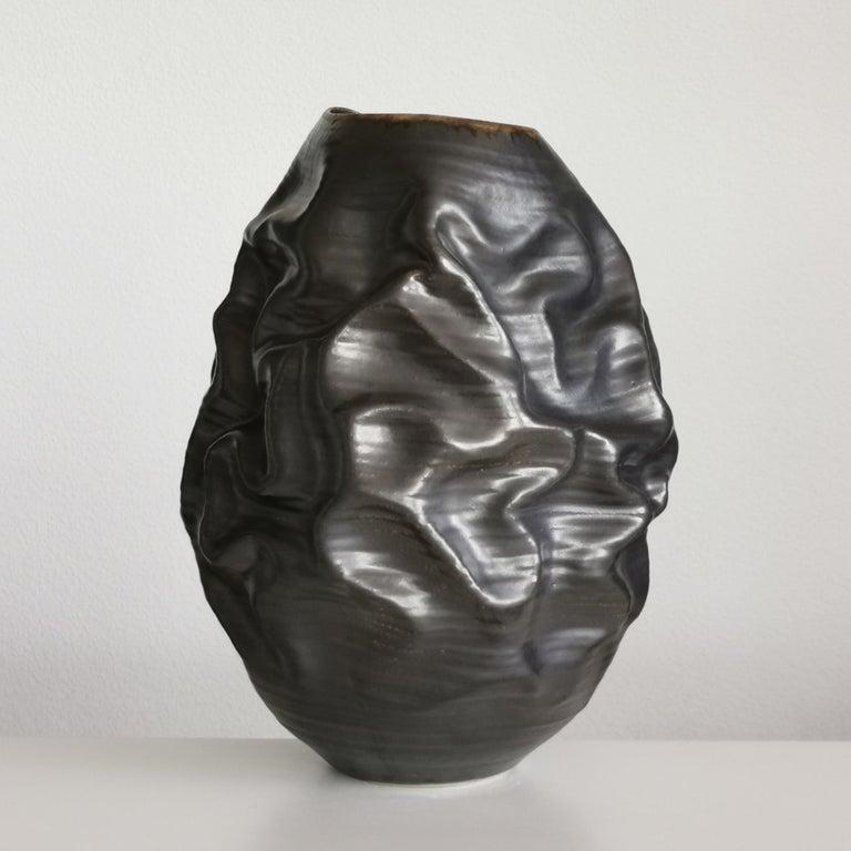 Black Metallic Dehydrated Form No 3, Ceramic Vessel by Nicholas Arroyave-Portela For Sale 1