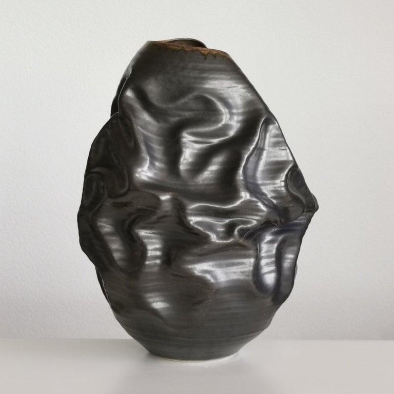 Black Metallic Dehydrated Form No 3, Ceramic Vessel by Nicholas Arroyave-Portela For Sale 2