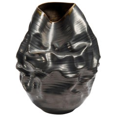 Black Metallic Dehydrated Form No 3, Ceramic Vessel by Nicholas Arroyave-Portela