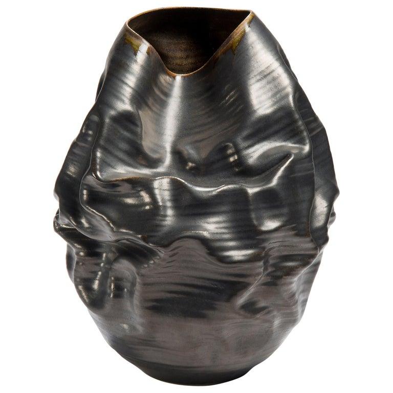 Black Metallic Dehydrated Form No 3, Ceramic Vessel by Nicholas Arroyave-Portela For Sale