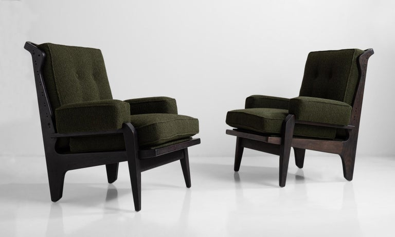 With ebonised frame and new upholstery.     Measures: 28.5