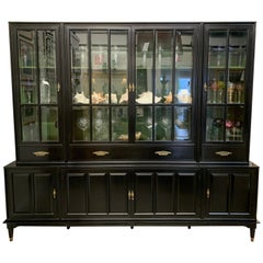 Black Midcentury Bookcase Display Cabinet Sideboard Union National, New York
