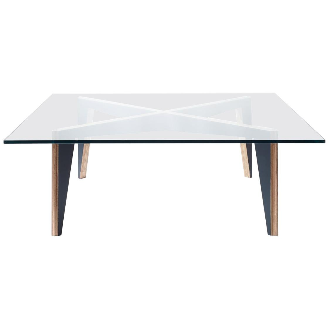 Cross Legs Wood Coffee Table Black with Glass Top by Miduny, Made in Italy