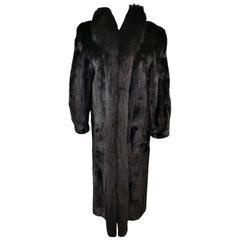 Black mink fur coat with dyed shadow fox fur trim size 10