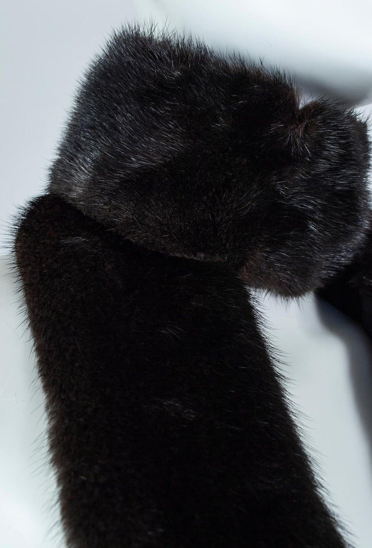 Black Mink Skinny Scarf or Belt with Tails – One Size, 1950s For Sale 6