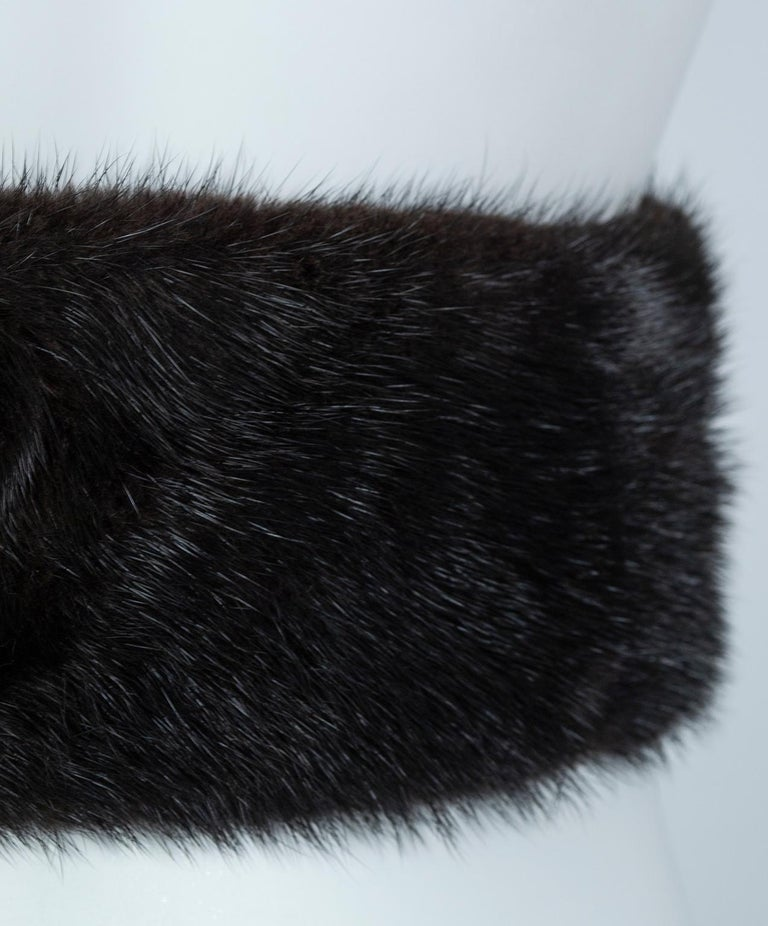 Black Mink Skinny Scarf or Belt with Tails – One Size, 1950s For Sale 8
