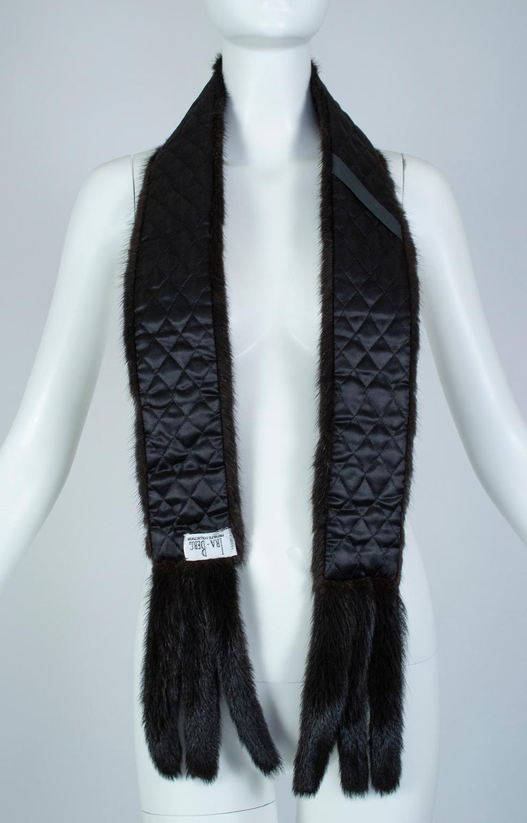 Black Mink Skinny Scarf or Belt with Tails – One Size, 1950s For Sale 10