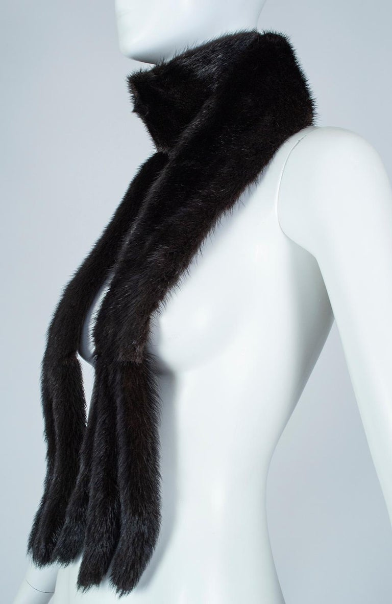 Women's or Men's Black Mink Skinny Scarf or Belt with Tails – One Size, 1950s For Sale