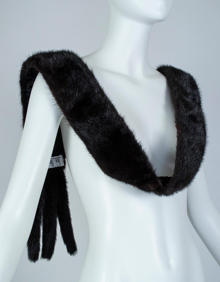 Black Mink Skinny Scarf or Belt with Tails – One Size, 1950s For Sale 1