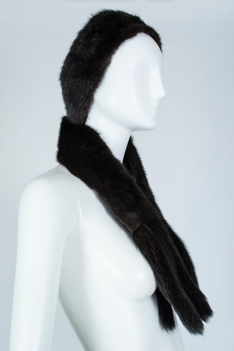 Black Mink Skinny Scarf or Belt with Tails – One Size, 1950s For Sale 3