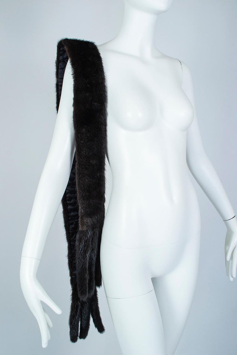 Black Mink Skinny Scarf or Belt with Tails – One Size, 1950s For Sale 4