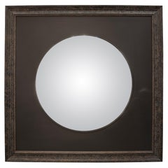 Black Mirror Wood Convex Mirror on Black Wood Frame, France, 2008