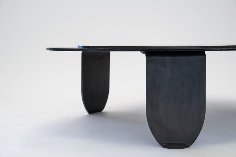 Black Modern/Contemporary Blackened Steel Circular/Organic Shape Coffee Table For Sale 6