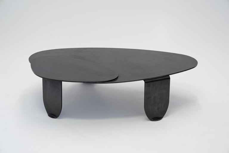 Black Modern/Contemporary Blackened Steel Circular/Organic Shape Coffee Table For Sale 7