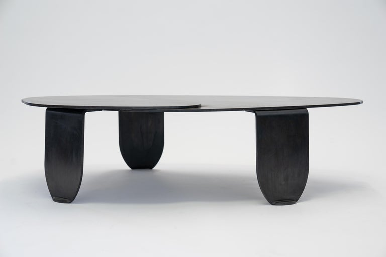 Black Modern/Contemporary Blackened Steel Circular/Organic Shape Coffee Table For Sale 9