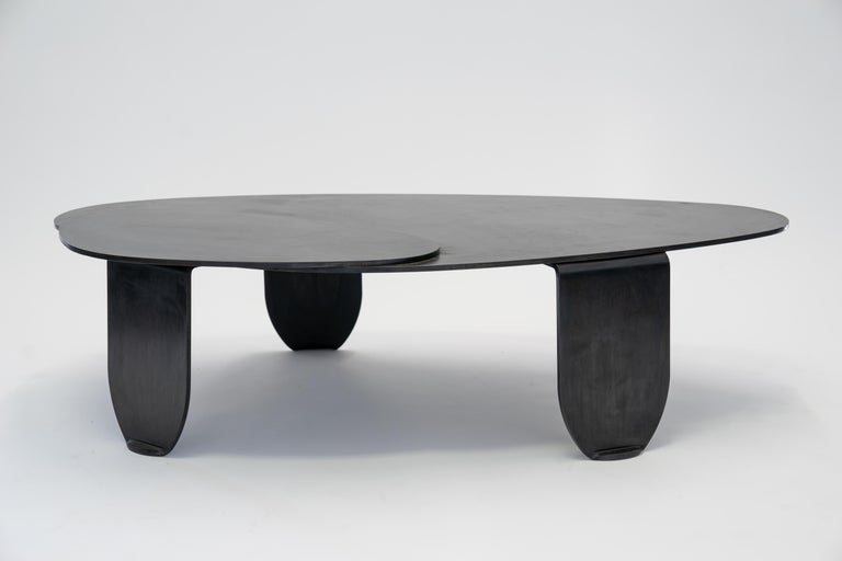 Black Modern/Contemporary Blackened Steel Circular/Organic Shape Coffee Table For Sale 10