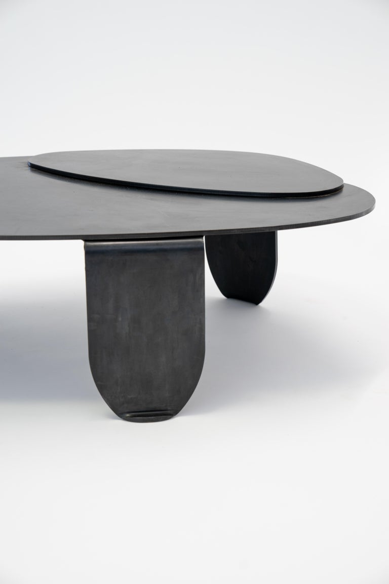 American Black Modern/Contemporary Blackened Steel Circular/Organic Shape Coffee Table For Sale