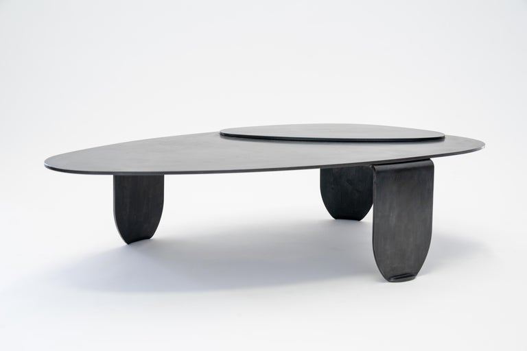 Black Modern/Contemporary Blackened Steel Circular/Organic Shape Coffee Table In New Condition For Sale In Bronx, NY