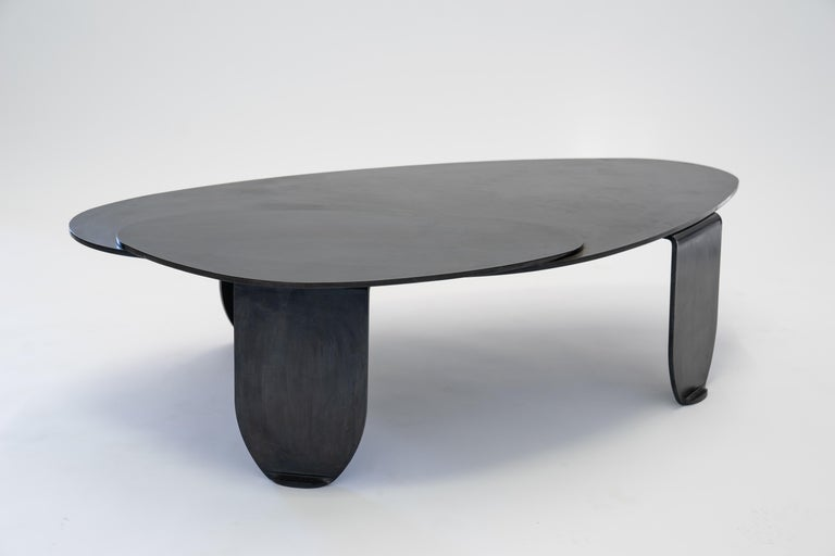 Black Modern/Contemporary Blackened Steel Circular/Organic Shape Coffee Table For Sale 3