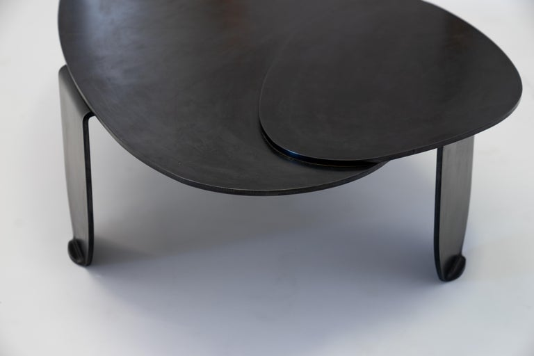 Black Modern/Contemporary Blackened Steel Circular/Organic Shape Coffee Table For Sale 5