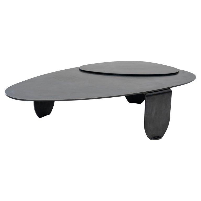 Black Modern/Contemporary Blackened Steel Circular/Organic Shape Coffee Table For Sale
