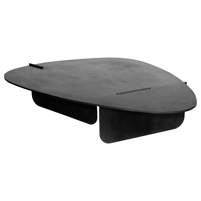 Circular Coffee/Side Table Organic Black Modern Contemporary Blackened Steel